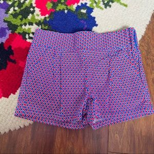 Janie and Jack Girl's Blue & Red Patterned Shorts